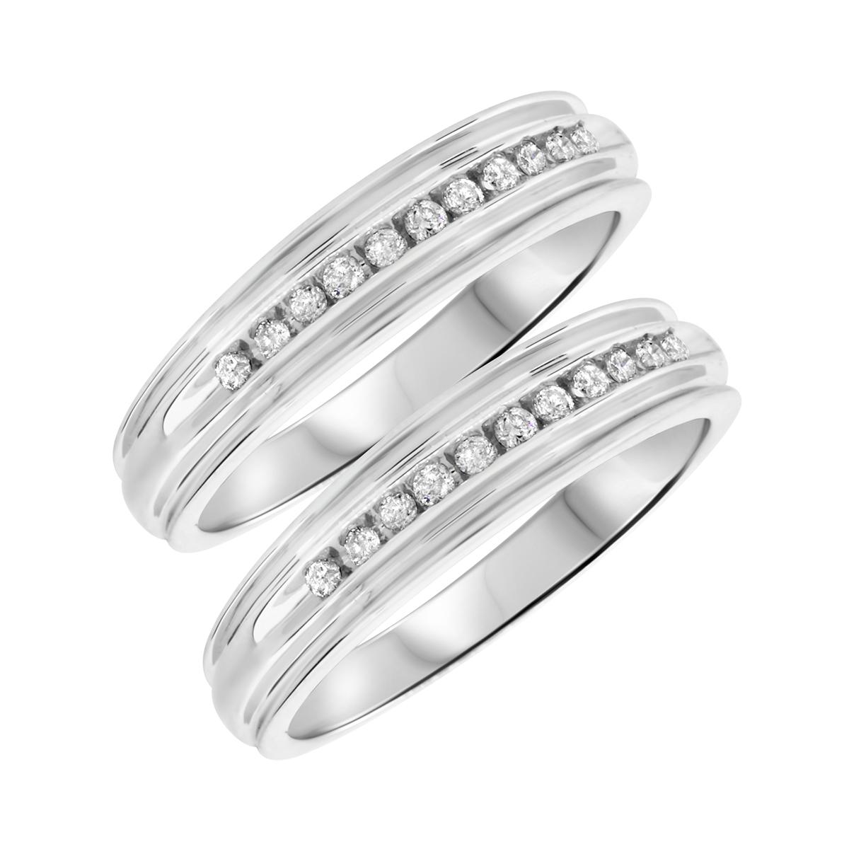 1/3 Carat T.W. Round Cut Mens  Same Sex Wedding Band Set 14K White Gold- Size 8