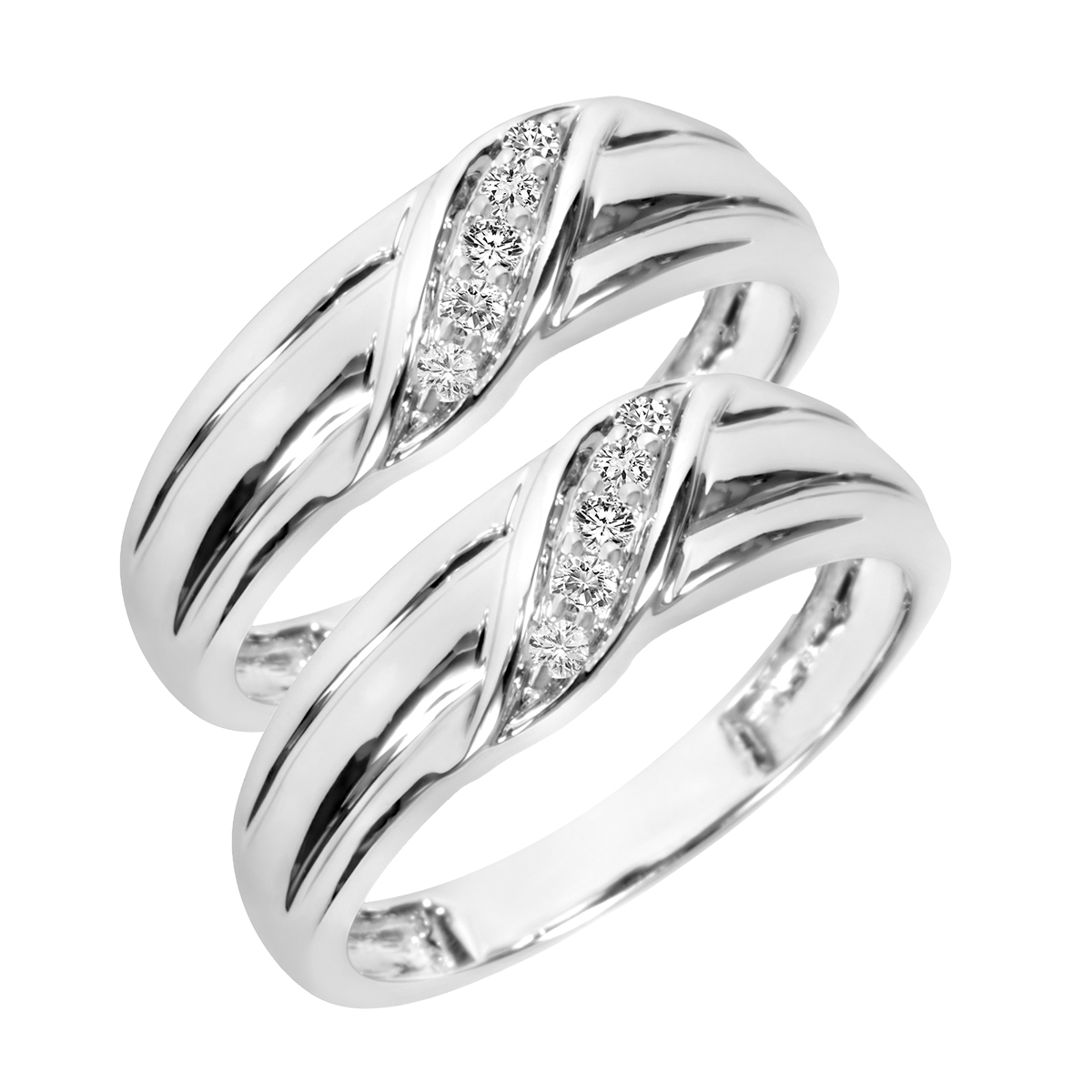 1/4 Carat T.W. Round Cut Mens  Same Sex Wedding Band Set 10K White Gold- Size 8