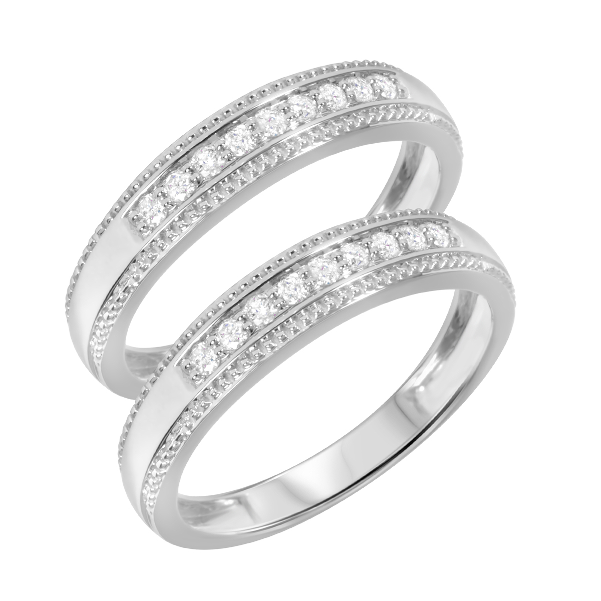 3/8 Carat T.W. Round Cut Mens  Same Sex Wedding Band Set 14K White Gold- Size 8