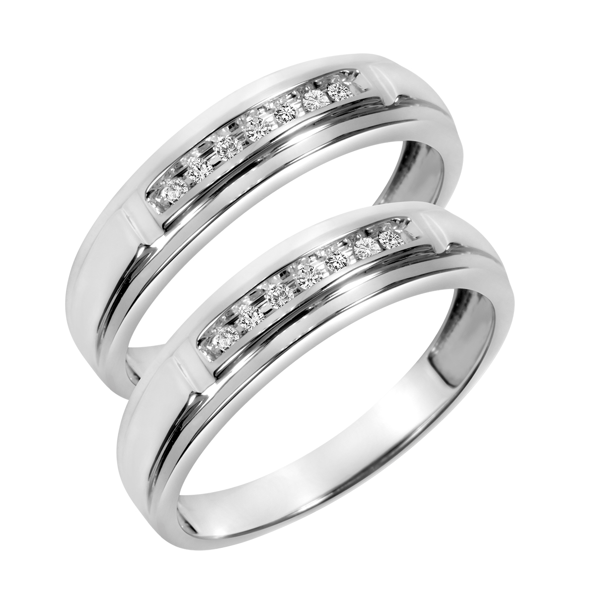 1/7 Carat T.W. Round Cut Mens  Same Sex Wedding Band Set 10K White Gold- Size 8