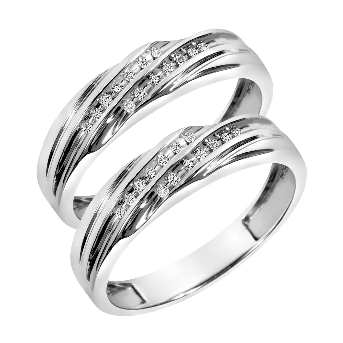 1/6 CT. T.W. Round Cut Mens  Same Sex Wedding Band Set 10K White Gold- Size 8