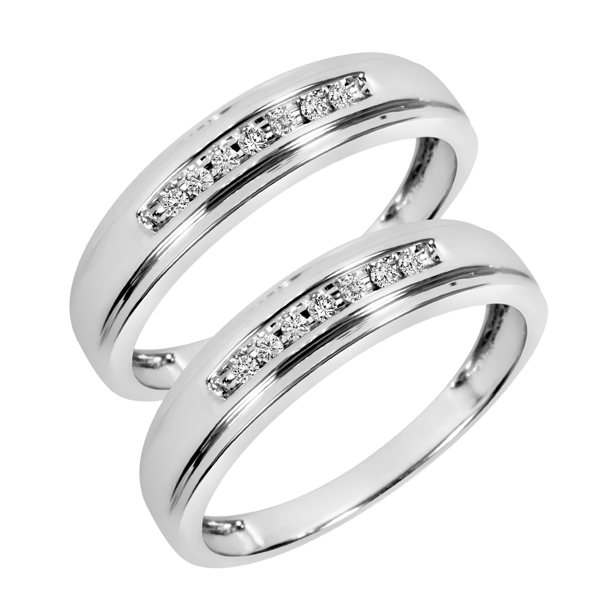 1/6 Carat T.W. Round Cut Mens  Same Sex Wedding Band Set 10K White Gold- Size 8