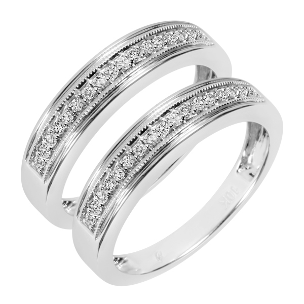 1/3 Carat T.W. Round Cut Mens  Same Sex Wedding Band Set 14K White Gold- Size 8