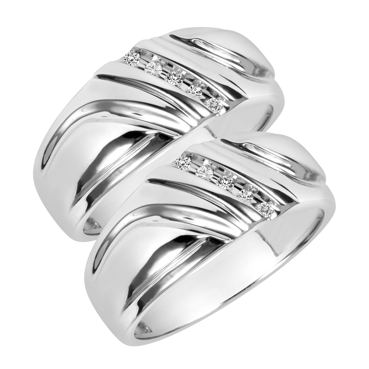 1/8 Carat T.W. Round Cut Mens  Same Sex Wedding Band Set 10K White Gold- Size 8