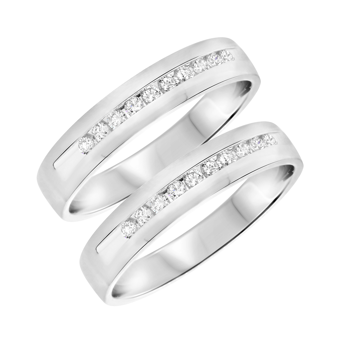 1/2 CT. T.W. Round Cut Mens  Same Sex Wedding Band Set 14K White Gold- Size 8