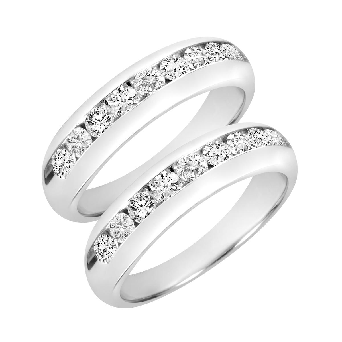 2 Carat T.W. Round Cut Mens  Same Sex Wedding Band Set 10K White Gold- Size 8