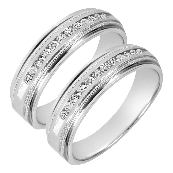 1/2 CT. T.W. Round Cut Mens  Same Sex Wedding Band Set 14K White Gold- Size 8