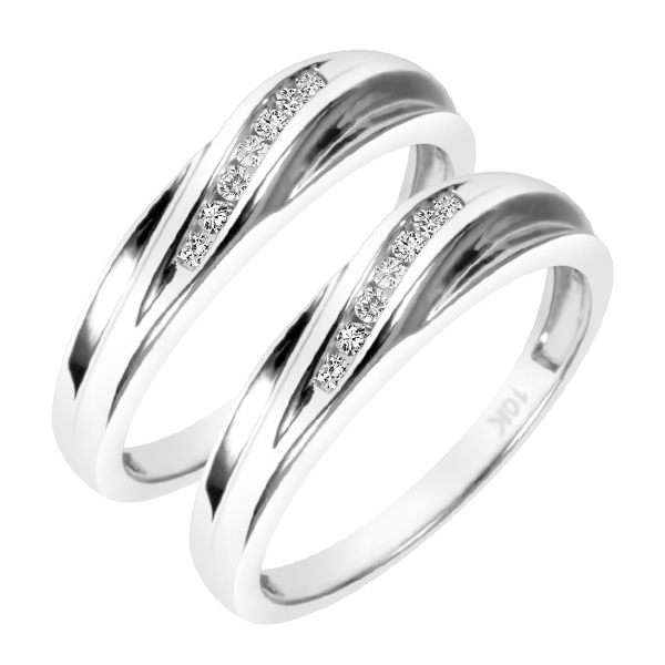 1/5 Carat T.W. Round Cut Mens  Same Sex Wedding Band Set 10K White Gold- Size 8