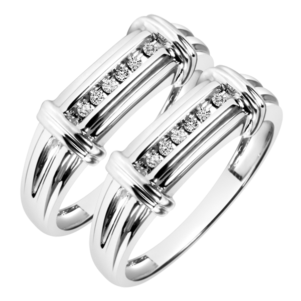 1/6 CT. T.W. Round Cut Mens  Same Sex Wedding Band Set 14K White Gold- Size 8