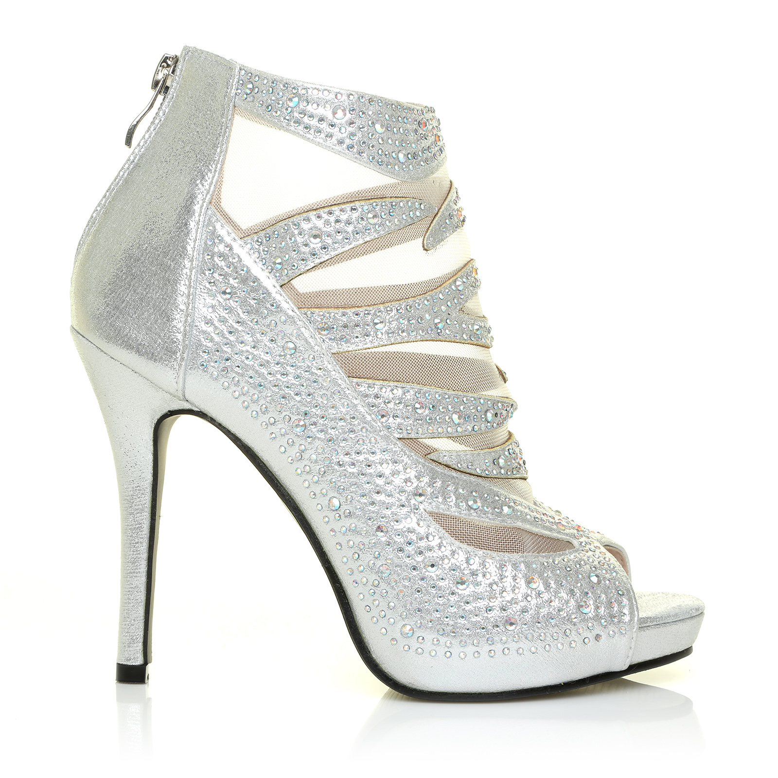 Silver shimmer diamante ankle strap sandals