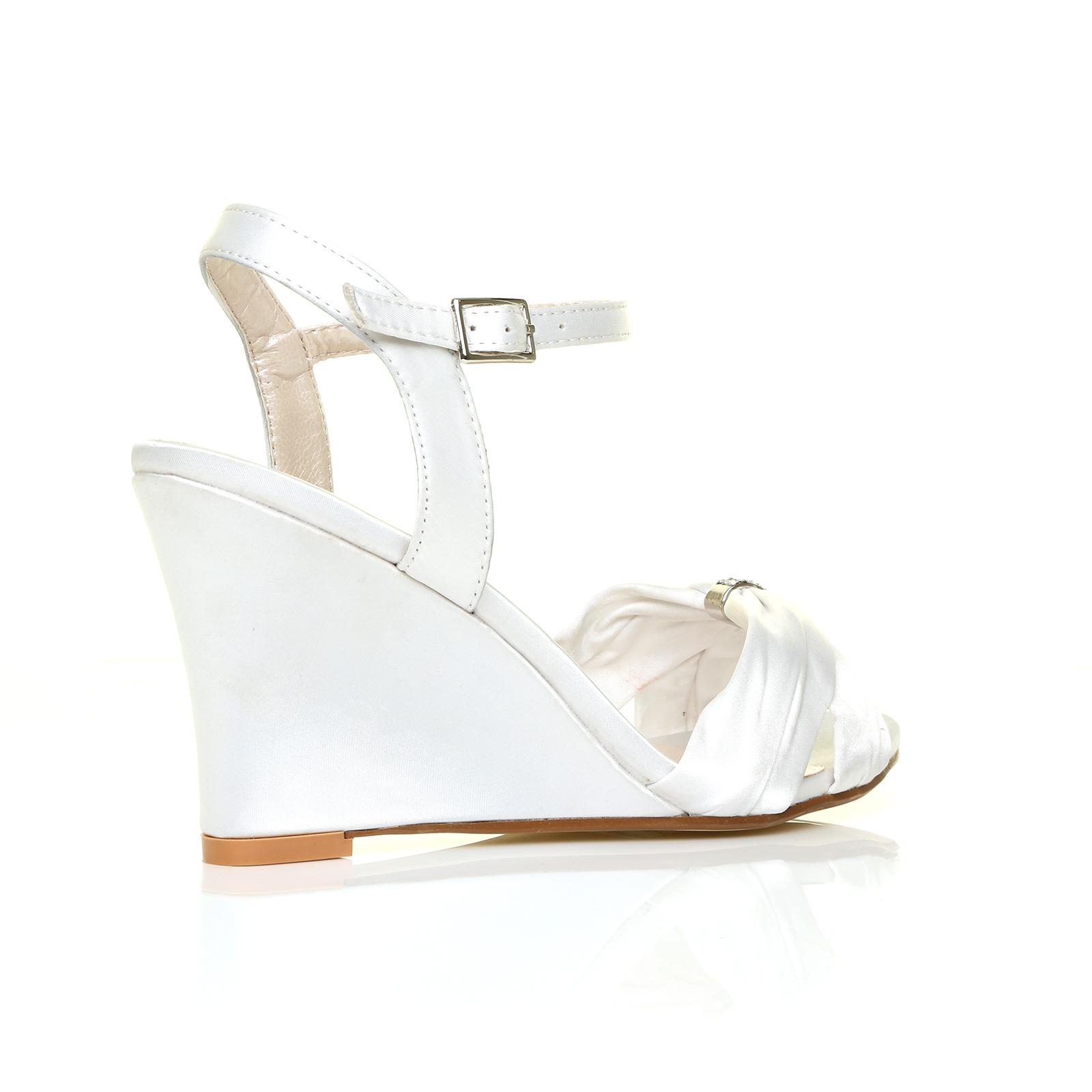 womens bridal wedding high wedge ivory white silver