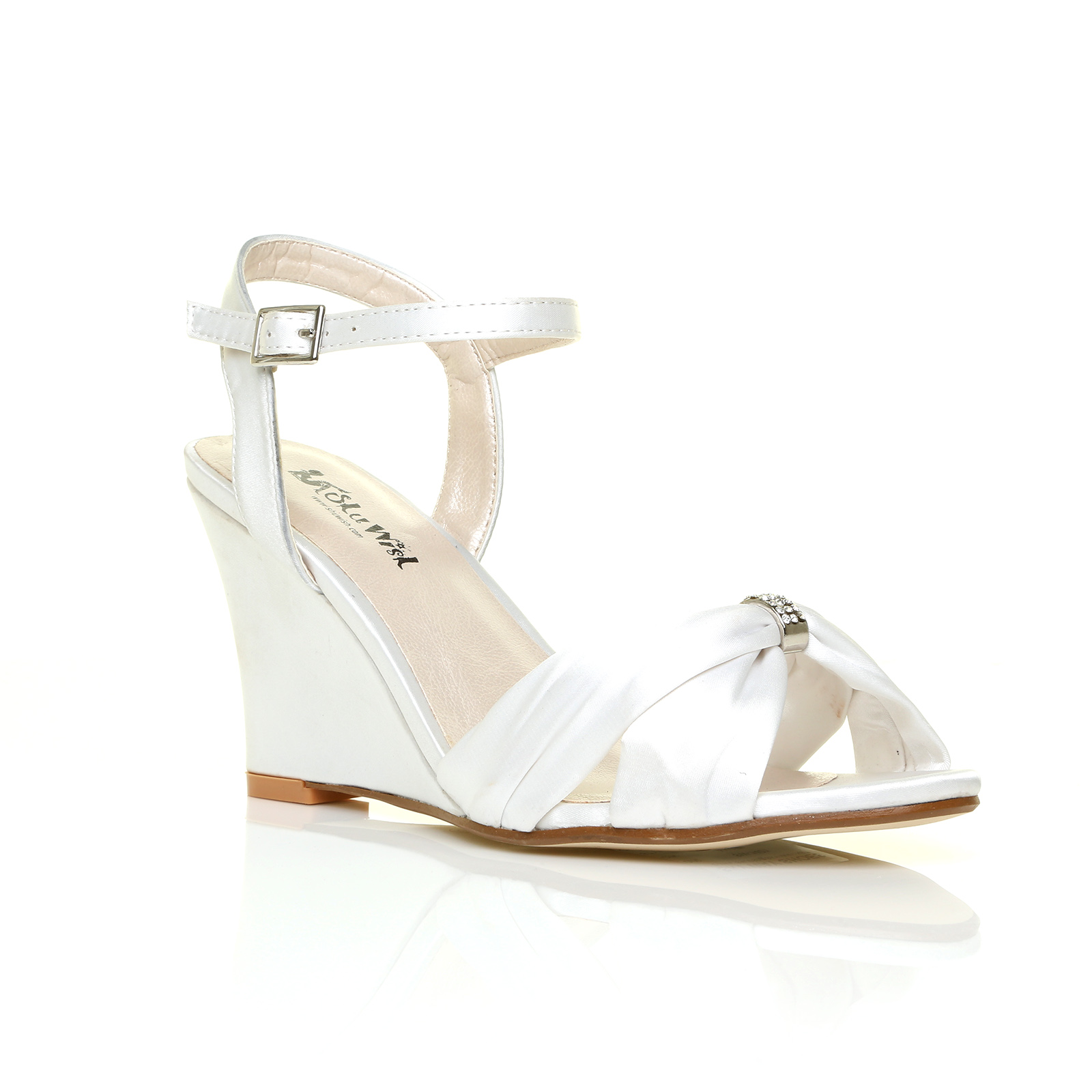 Ivory White Satin Diamante Wedge Wedding Shoes