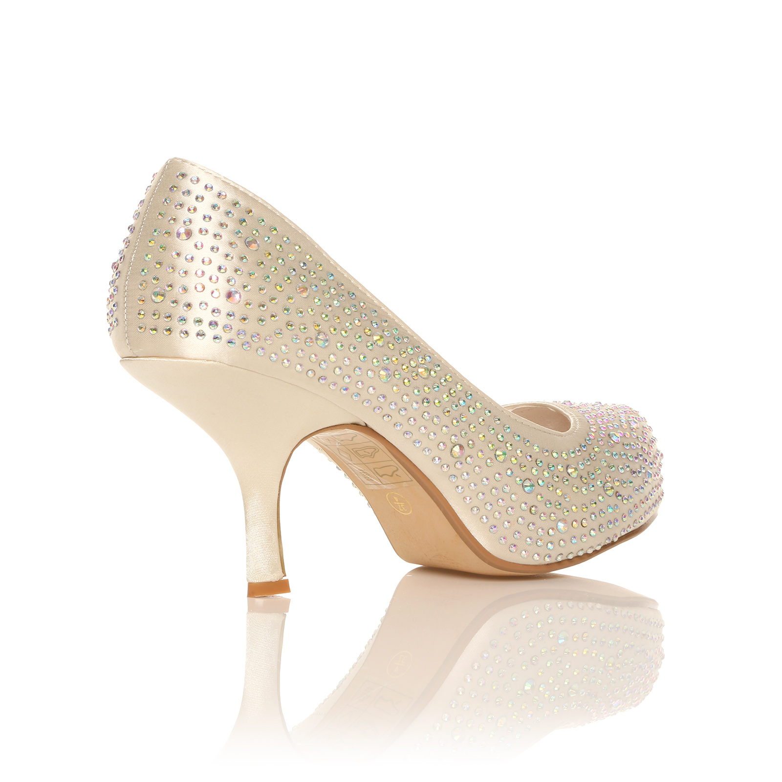 diamante prom wedding shoes low mid heal