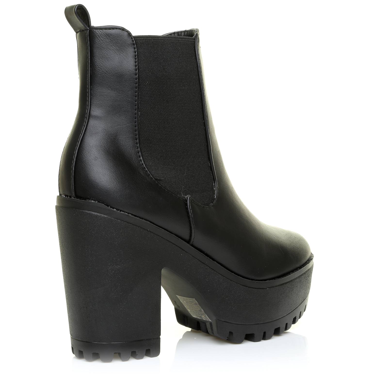 New Womens Ladies Chelsea Chunky Block Heel Grip Sole Ankle Boots ...