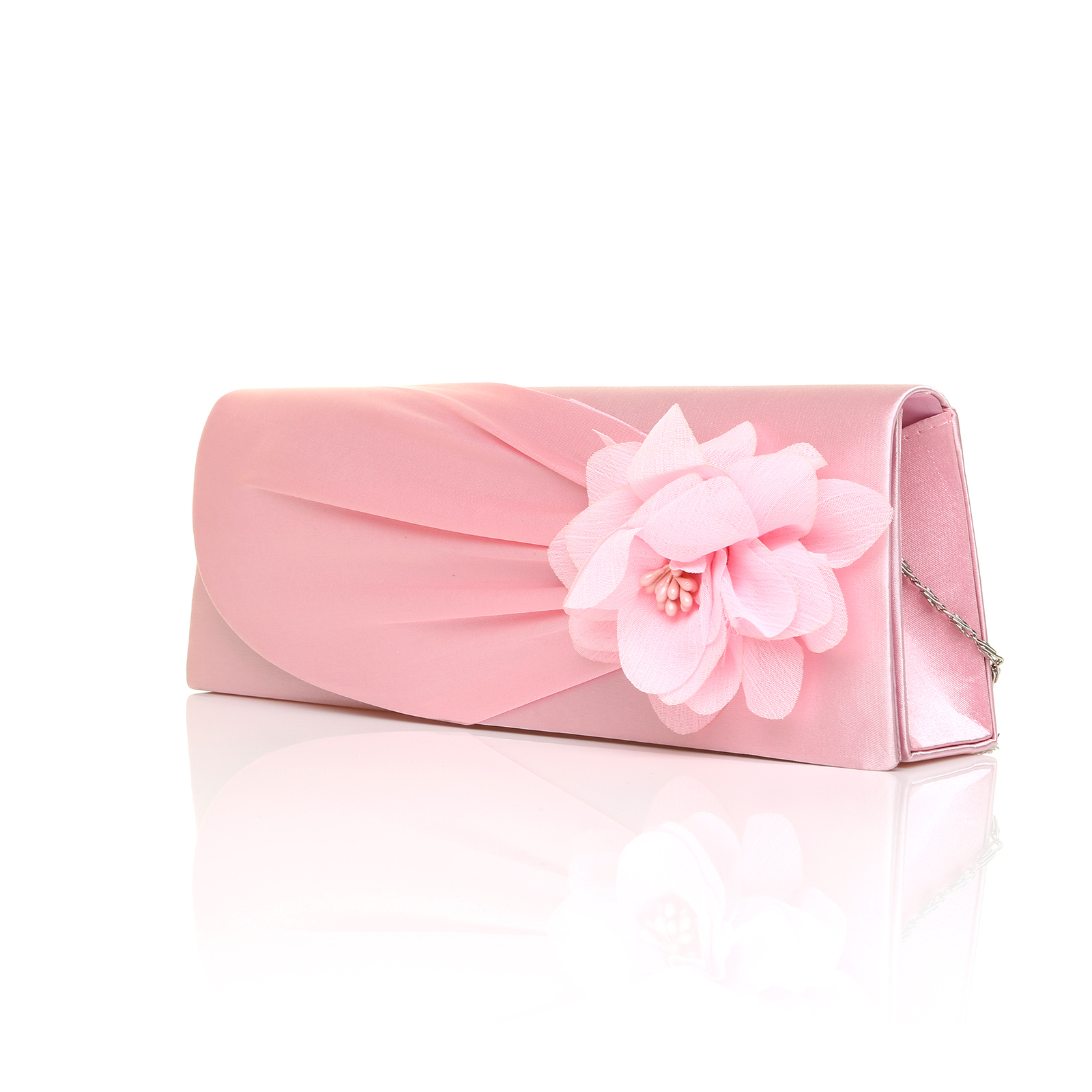 New Ladies Satin Clutch Bag Women Bridal Evening Party Shoulder Flower Handbag | EBay