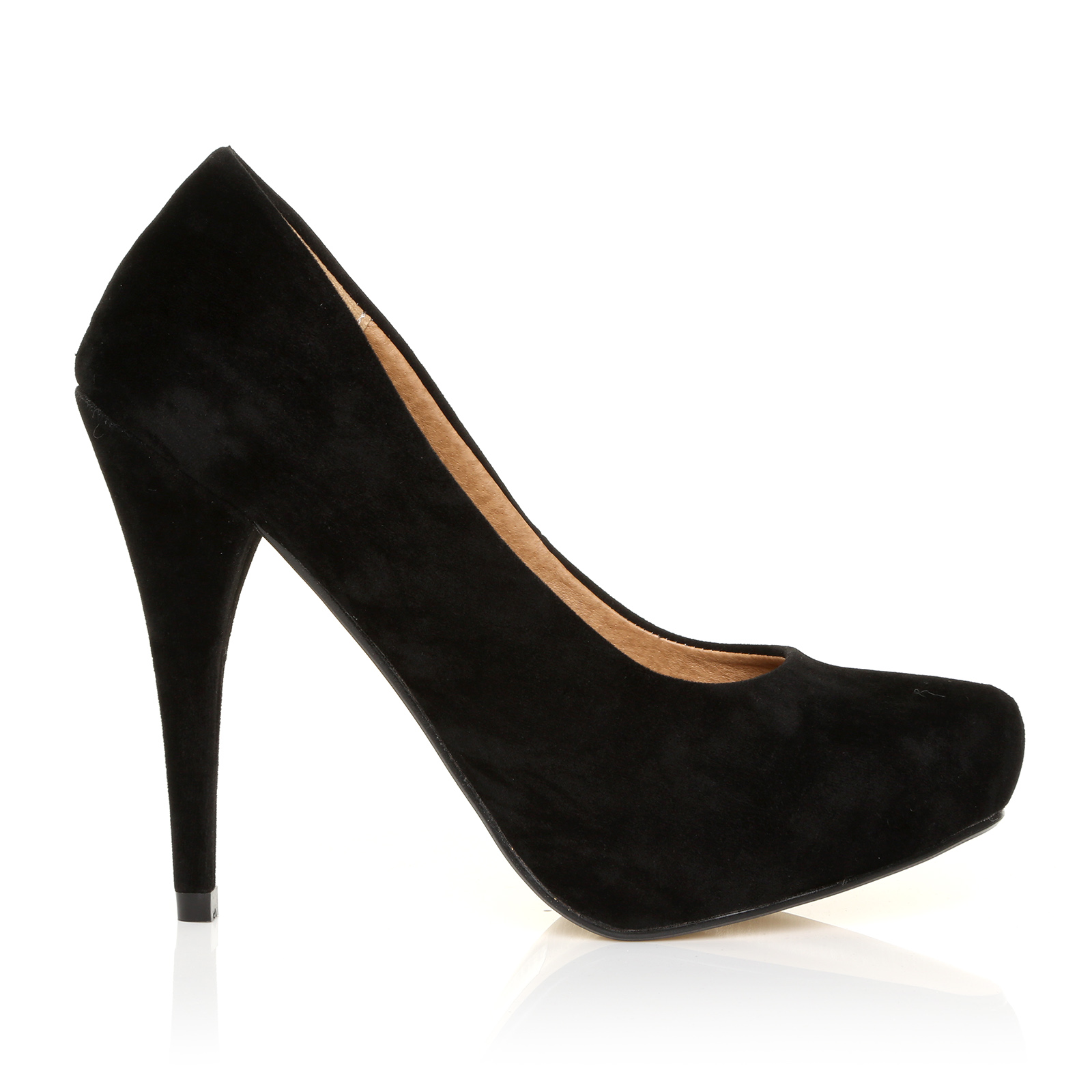 womens black suede classic concealed platform court shoes