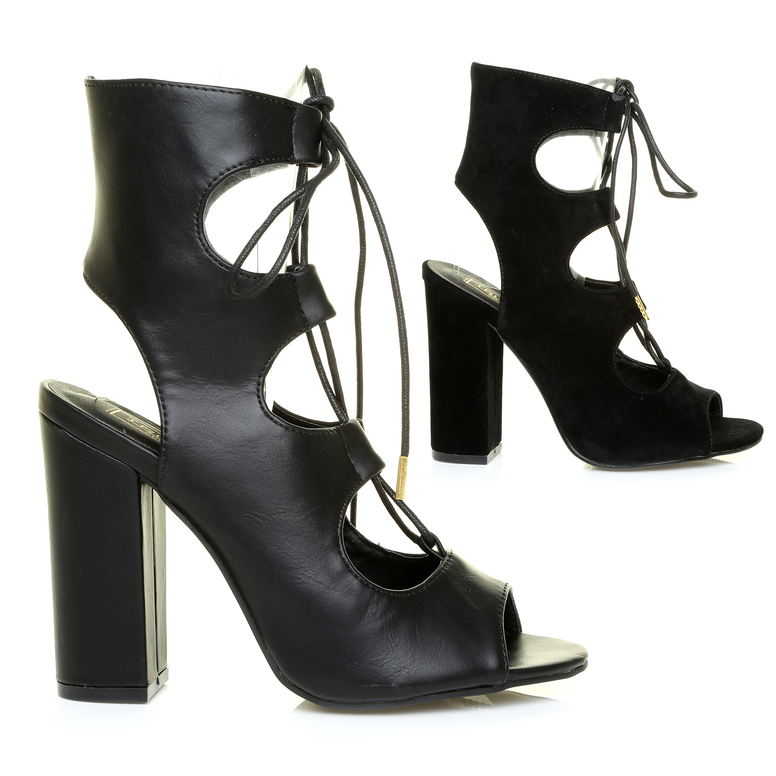 new high block heel lace up cut out back peep toe