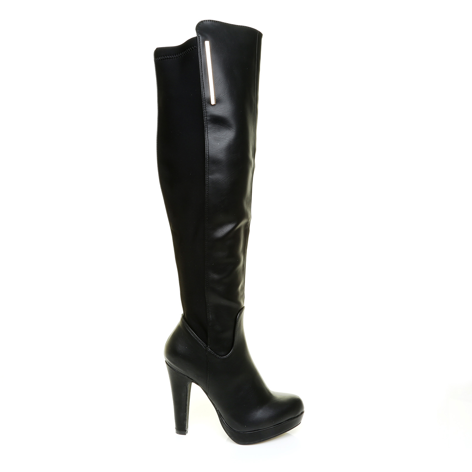 womens black the knee thigh high platform