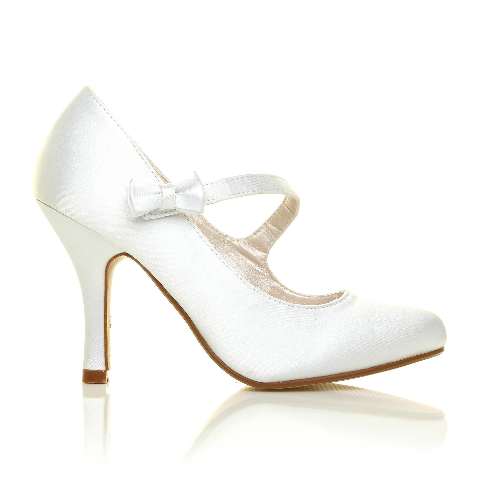 LADIES WHITE IVORY HI HEEL SATIN MARY JANE PUMPS WOMENS ...
