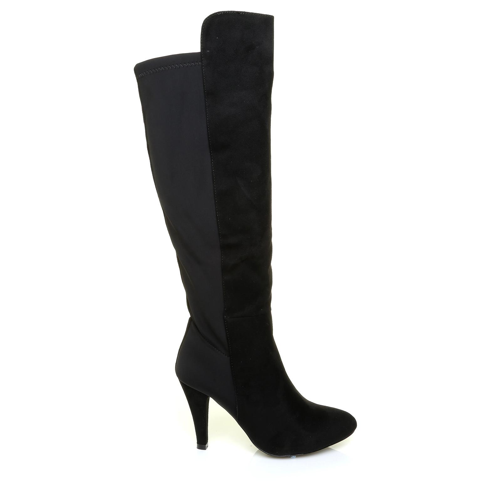 black pu leather elasticated back stretch comfort high