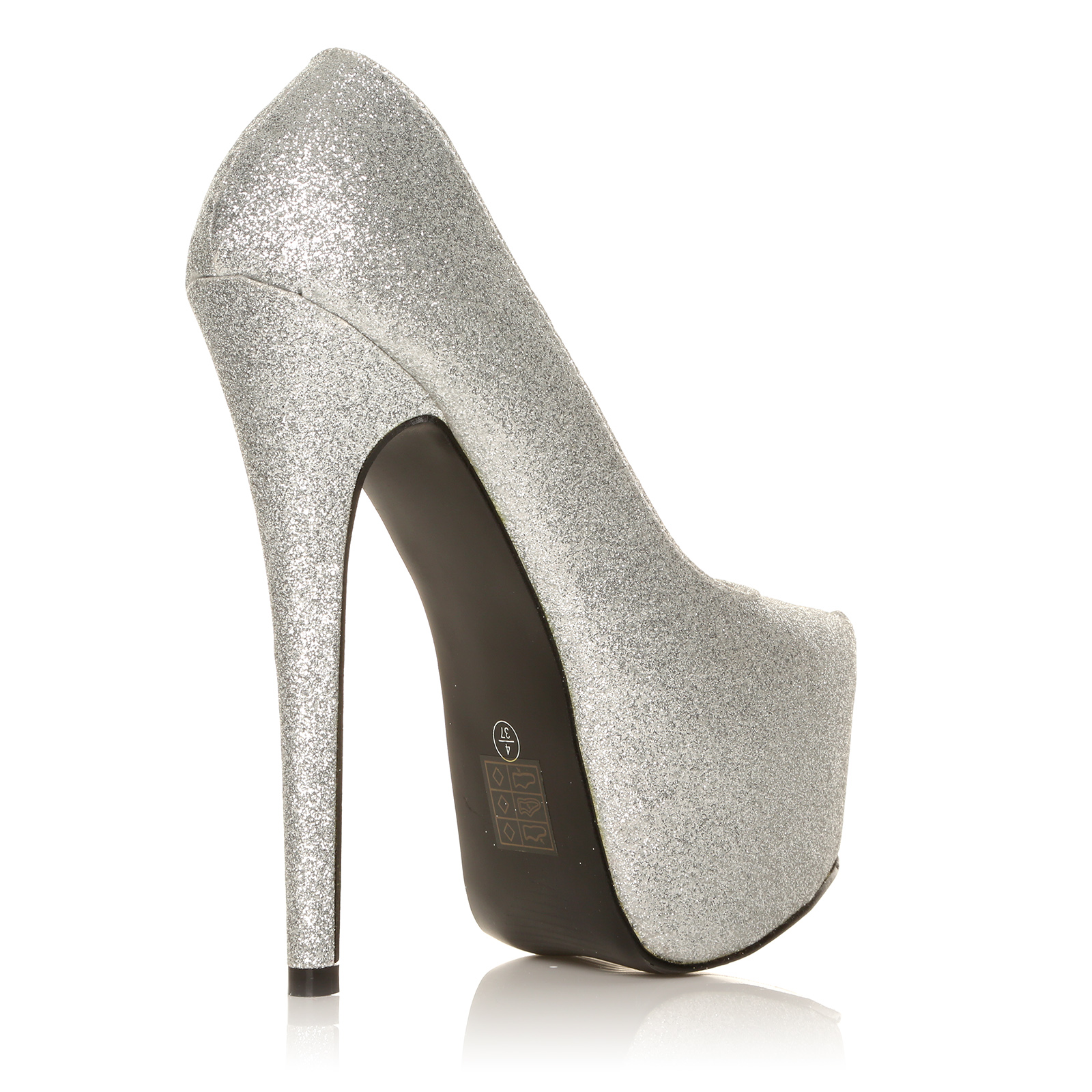 donna silver glitter stiletto very high heel platform. Black Bedroom Furniture Sets. Home Design Ideas
