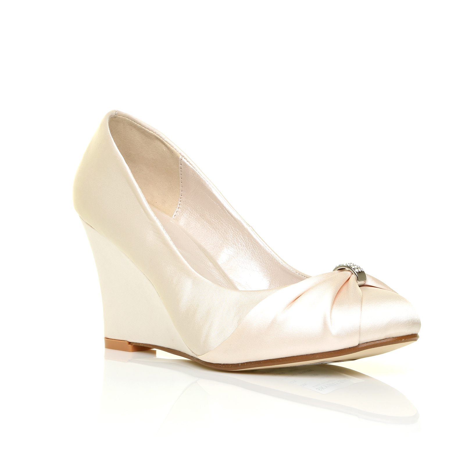 womens satin wedding shoes bridesmaid wedge heel