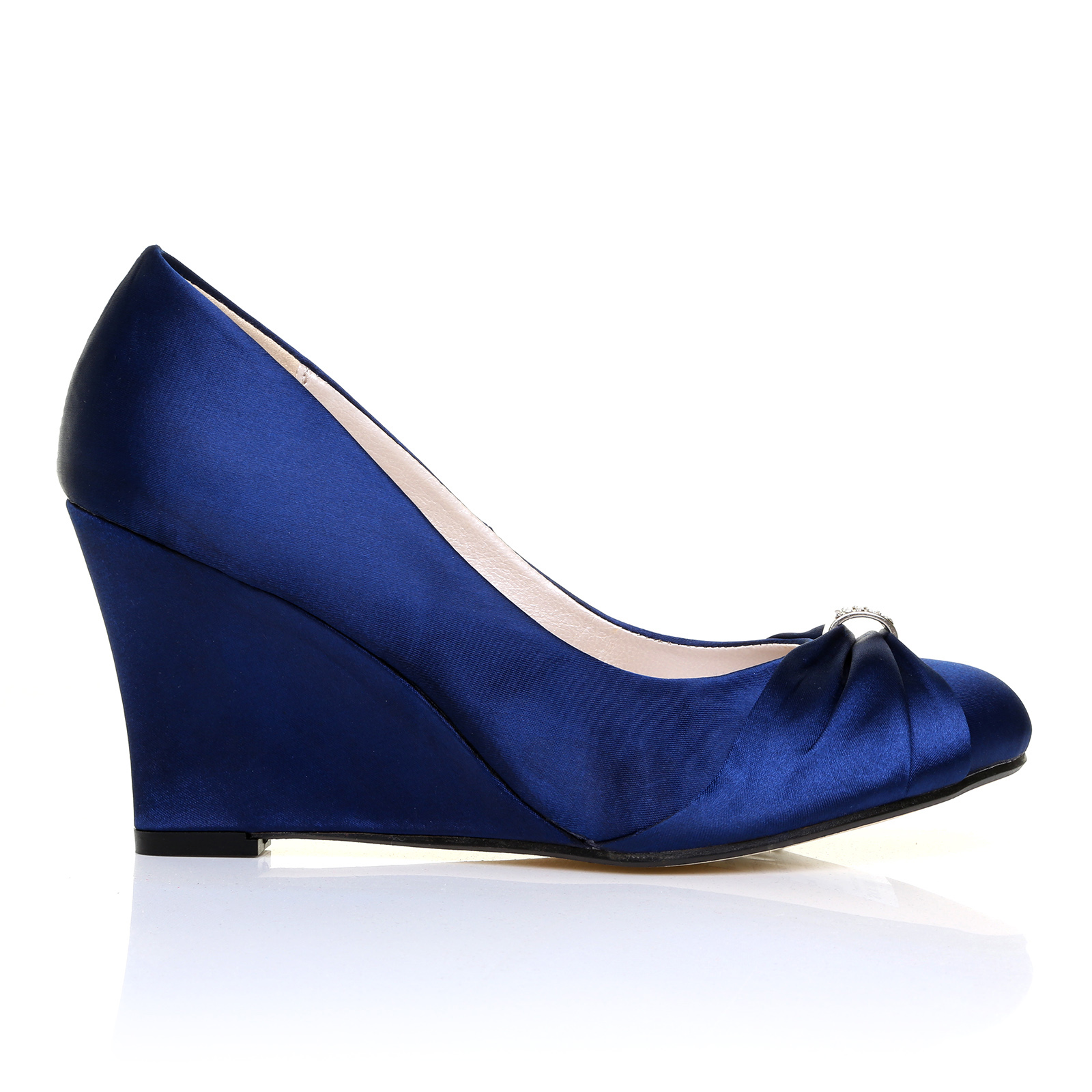 navy satin wedge high heel bridal court shoes ebay