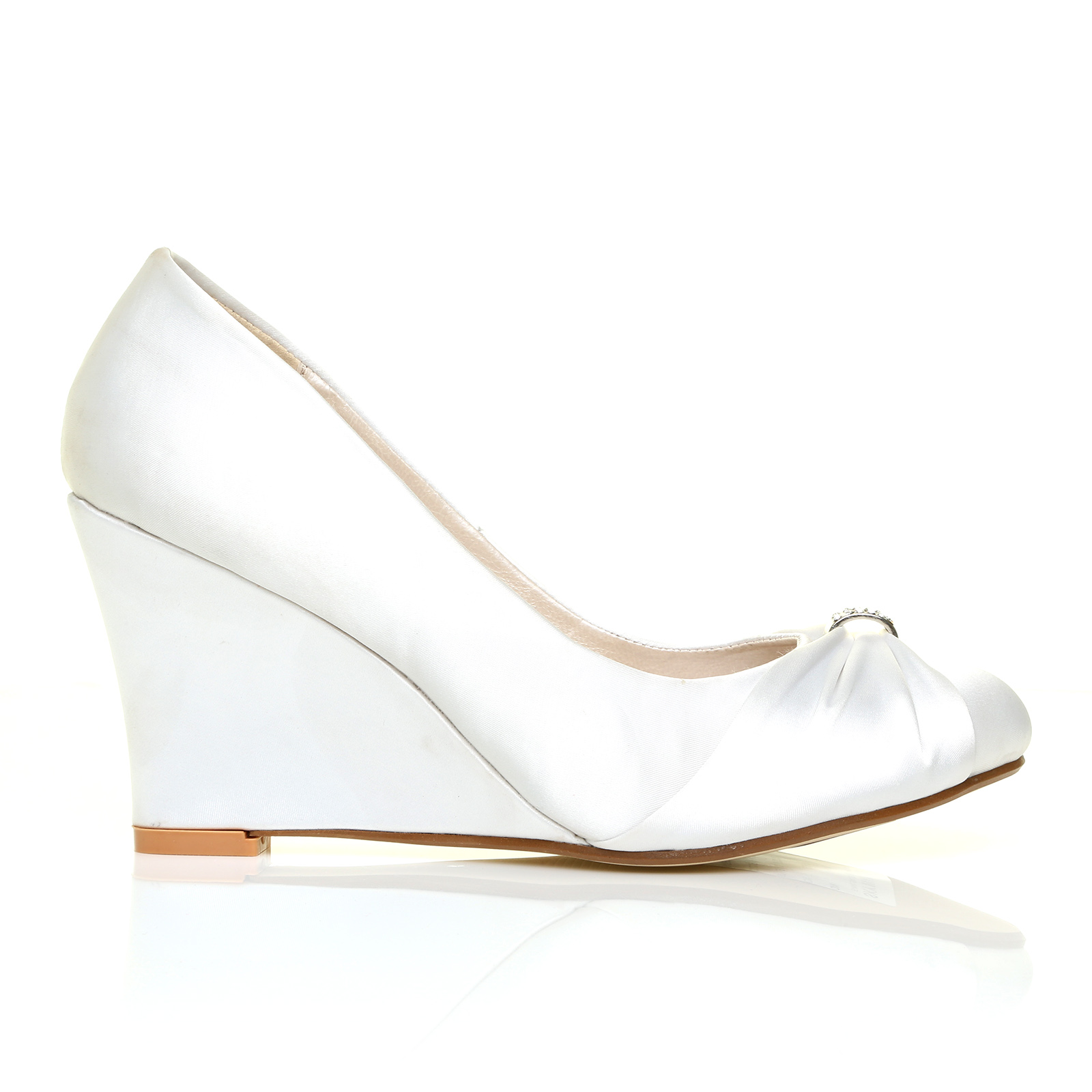 white satin wedge high heel bridal court shoes ebay