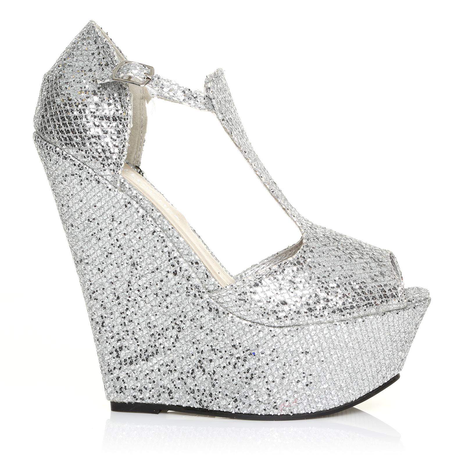 enya silver glitter wedge very high heel platform peep. Black Bedroom Furniture Sets. Home Design Ideas