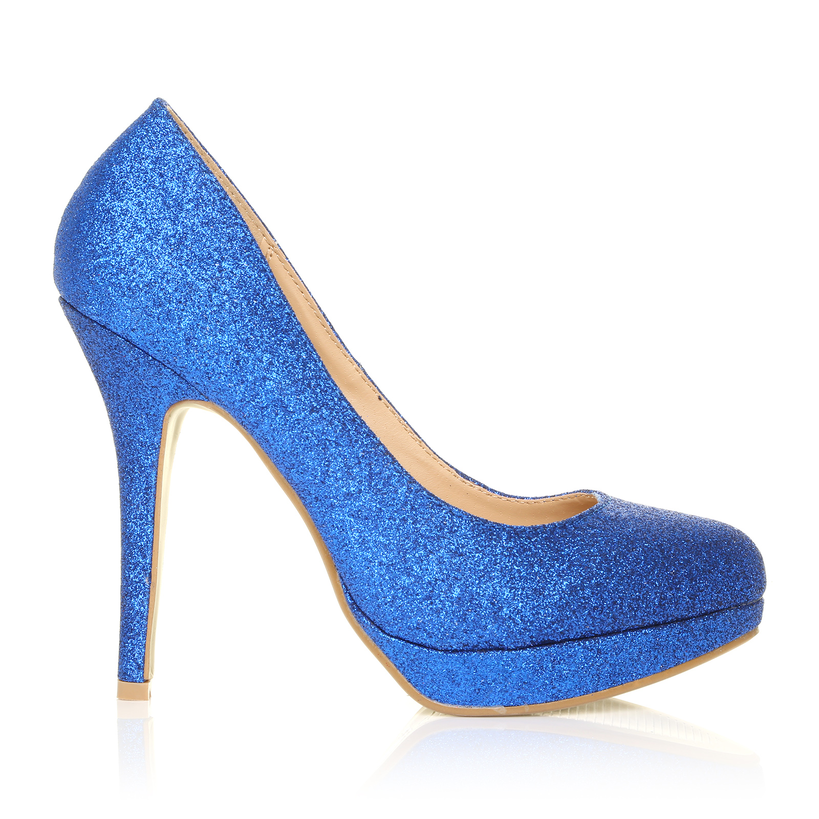blue glitter stiletto high heel platform court shoes