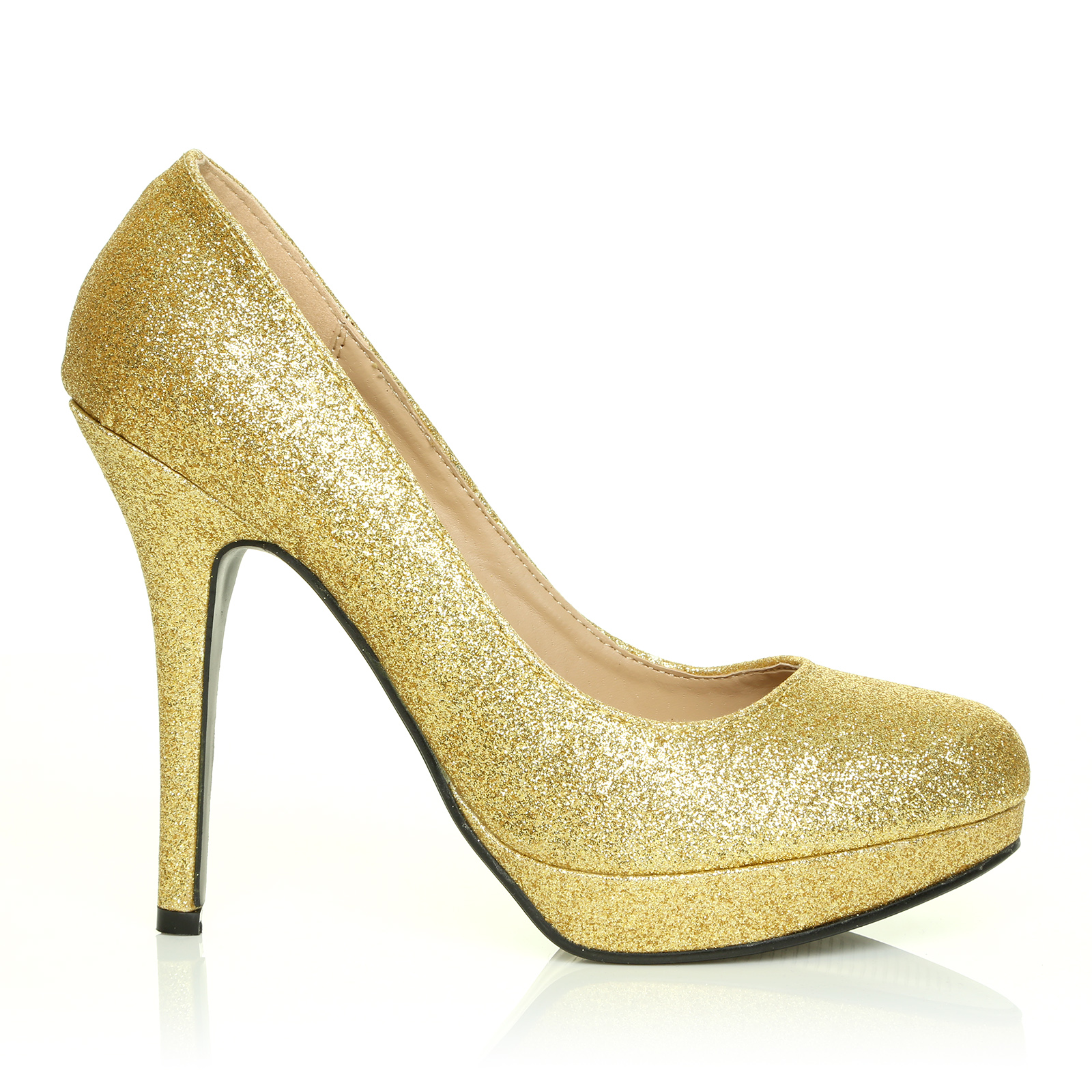 eve gold glitter stiletto high heel platform court shoes ebay. Black Bedroom Furniture Sets. Home Design Ideas