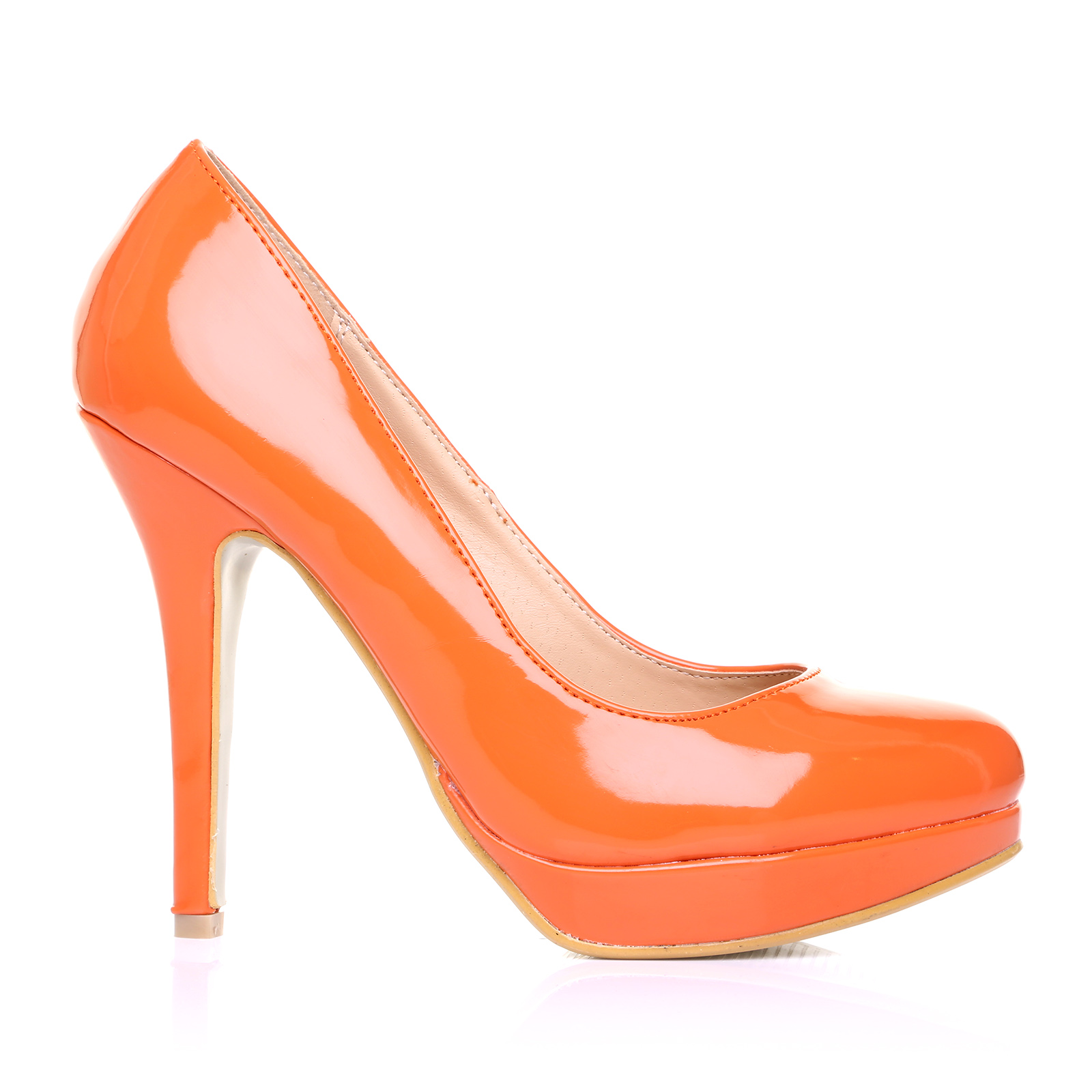 orange patent pu leather stiletto high heel platform