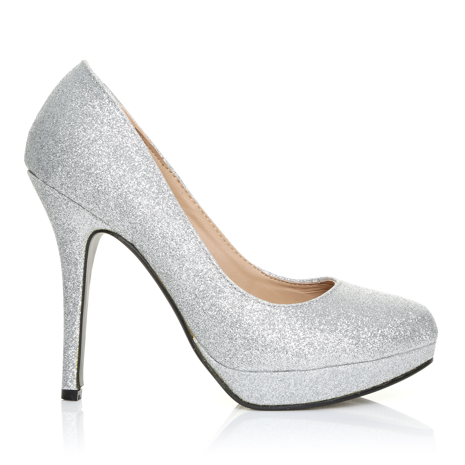 silver glitter stiletto high heel platform court shoes