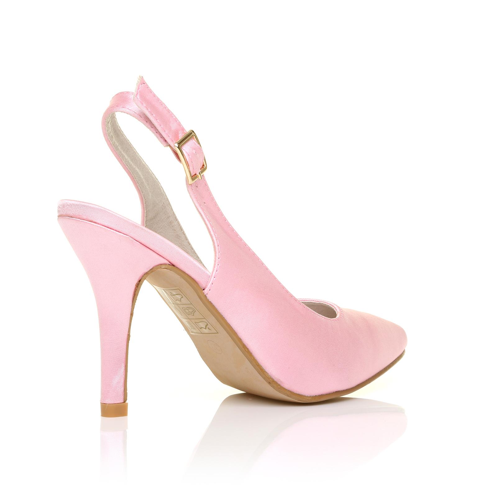 faith baby pink satin stiletto high heel slingback bridal