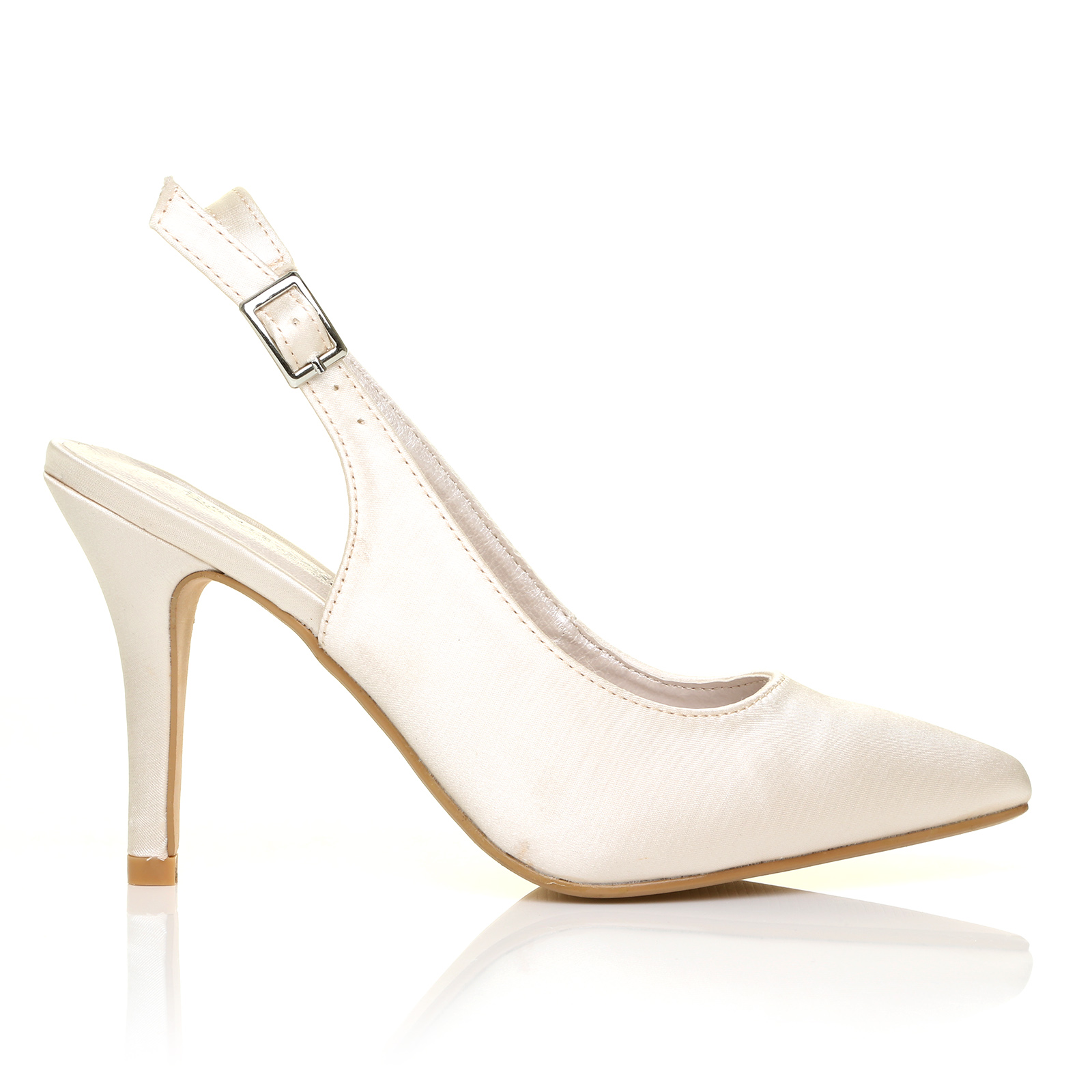 ivory satin stiletto high heel slingback bridal court shoes ebay