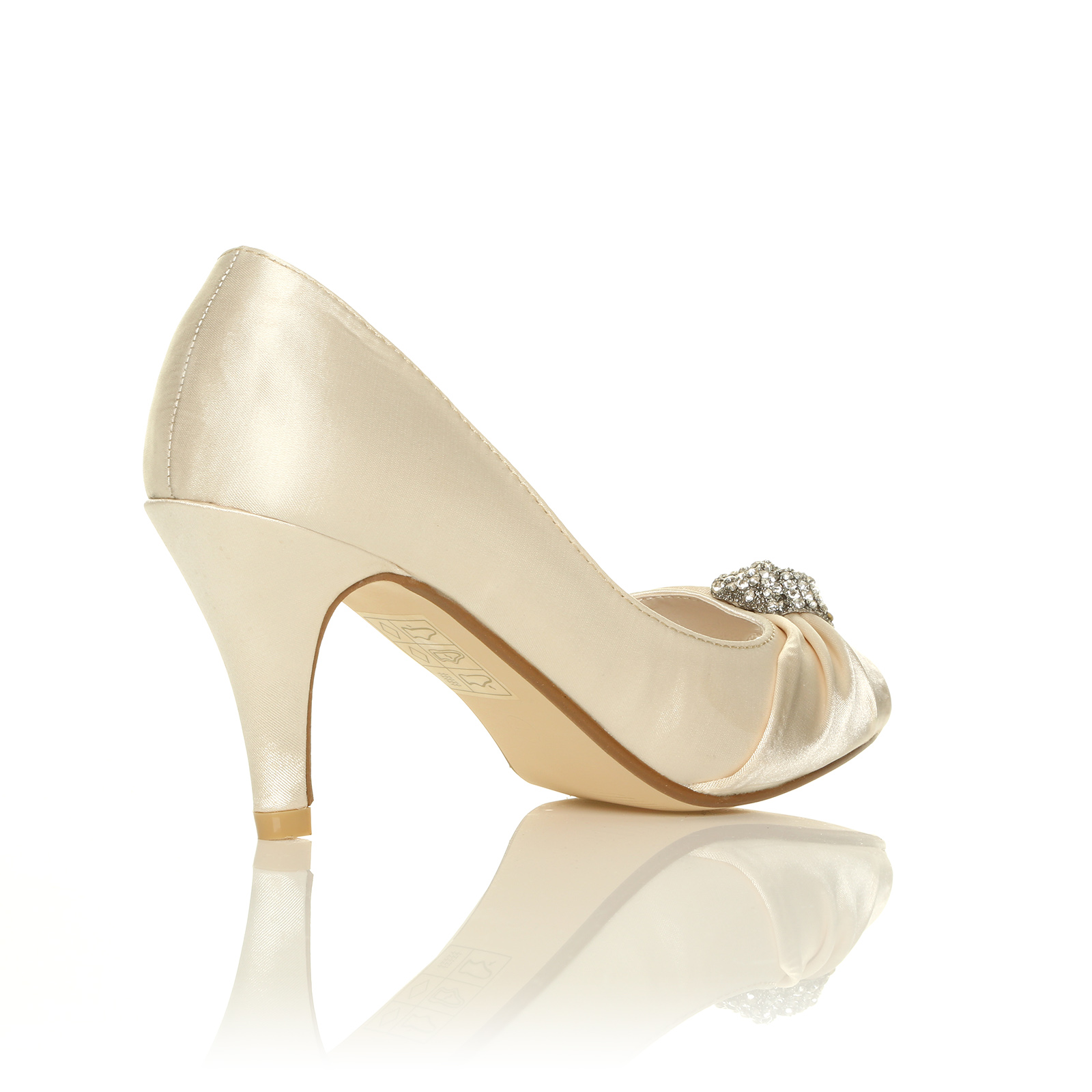 LADIES IVORY WHITE SATIN LOW HEEL BRIDAL PROM PARTY BRIDESMAID SANDAL SHOES SIZE