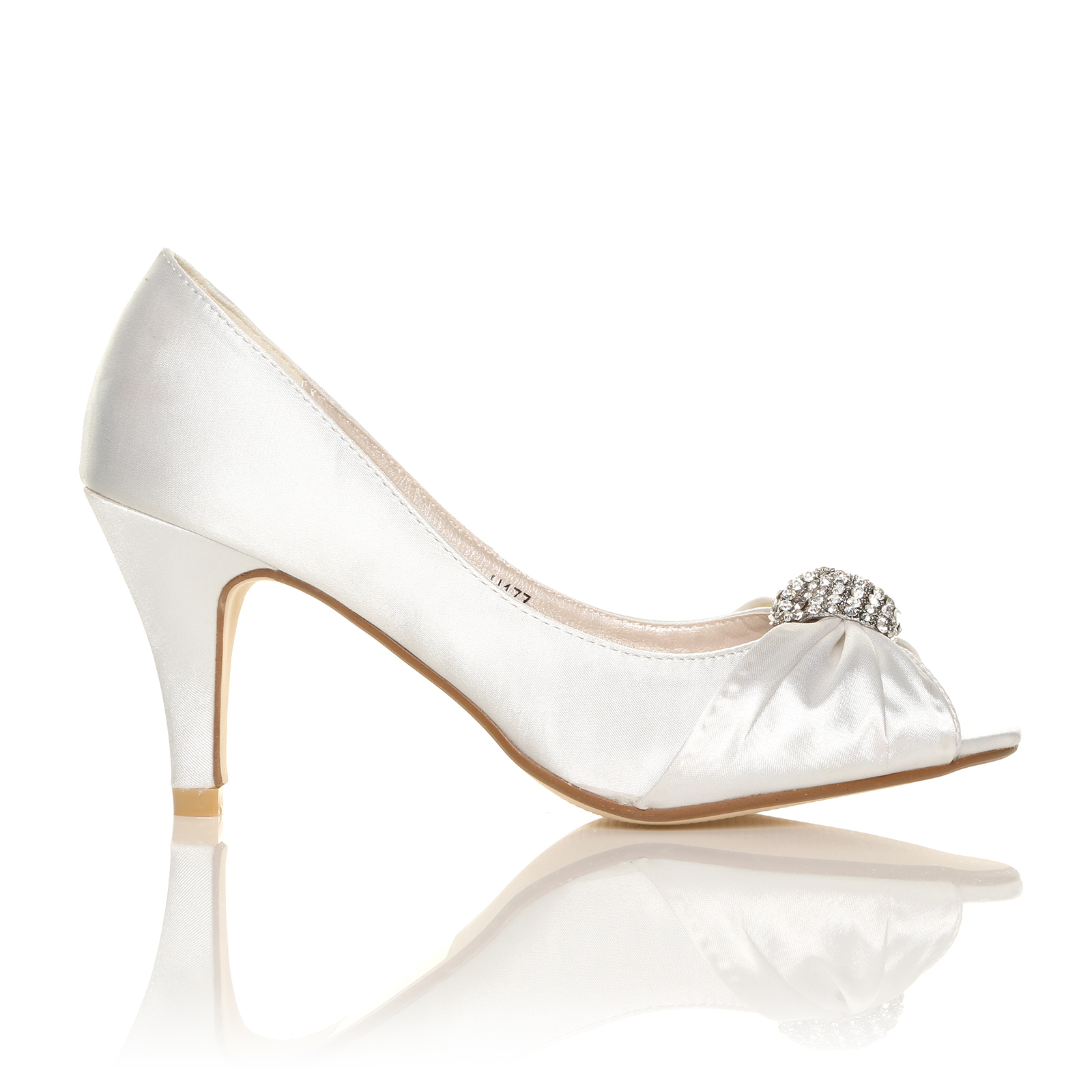 ivory white satin low heel bridal prom