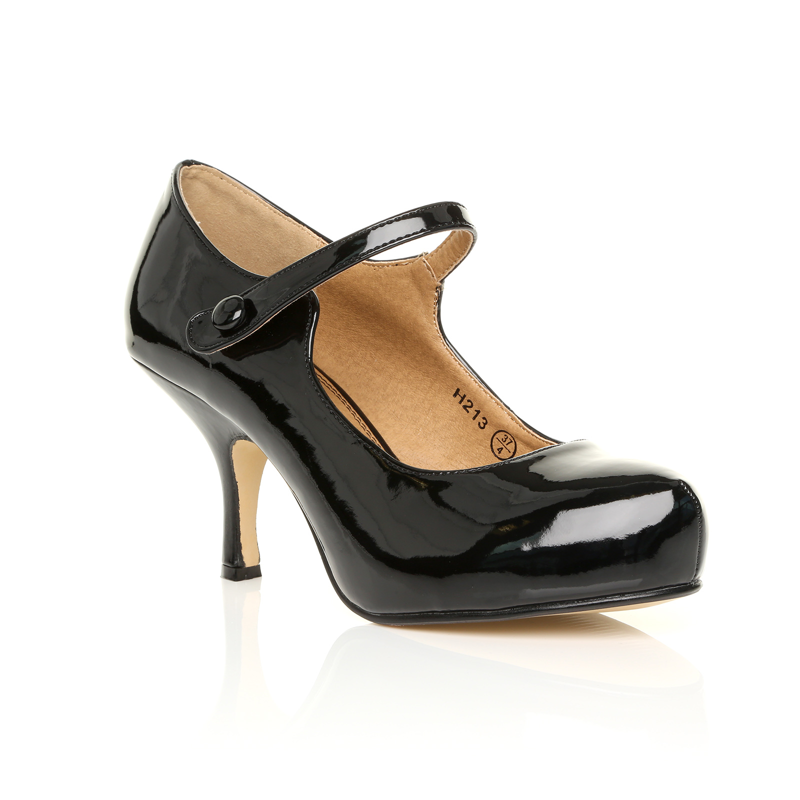 NEW WOMENS STRAP MID HEEL CASUAL SMART WORK PUMP COURT ...