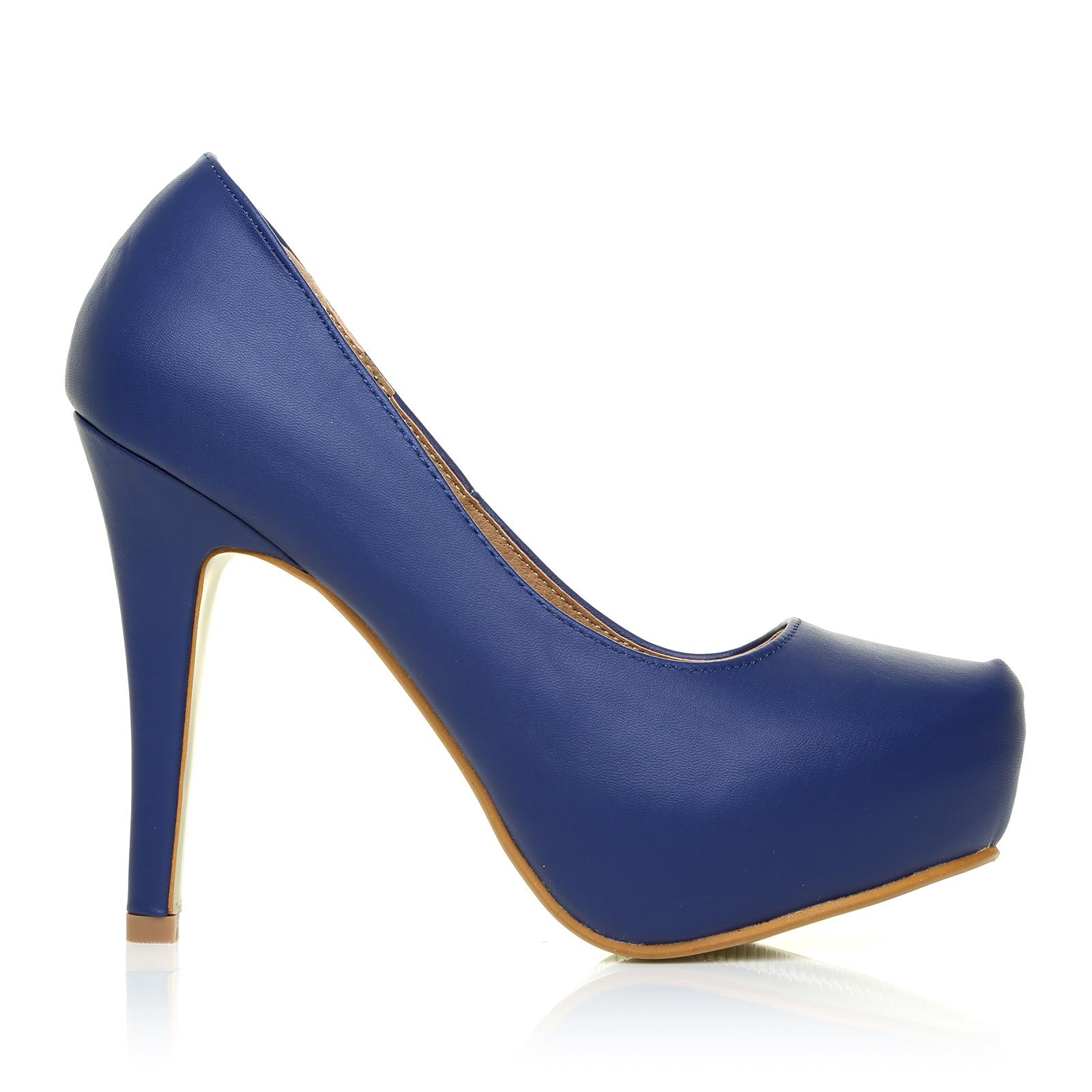 h251 navy pu leather stiletto high heel concealed platform