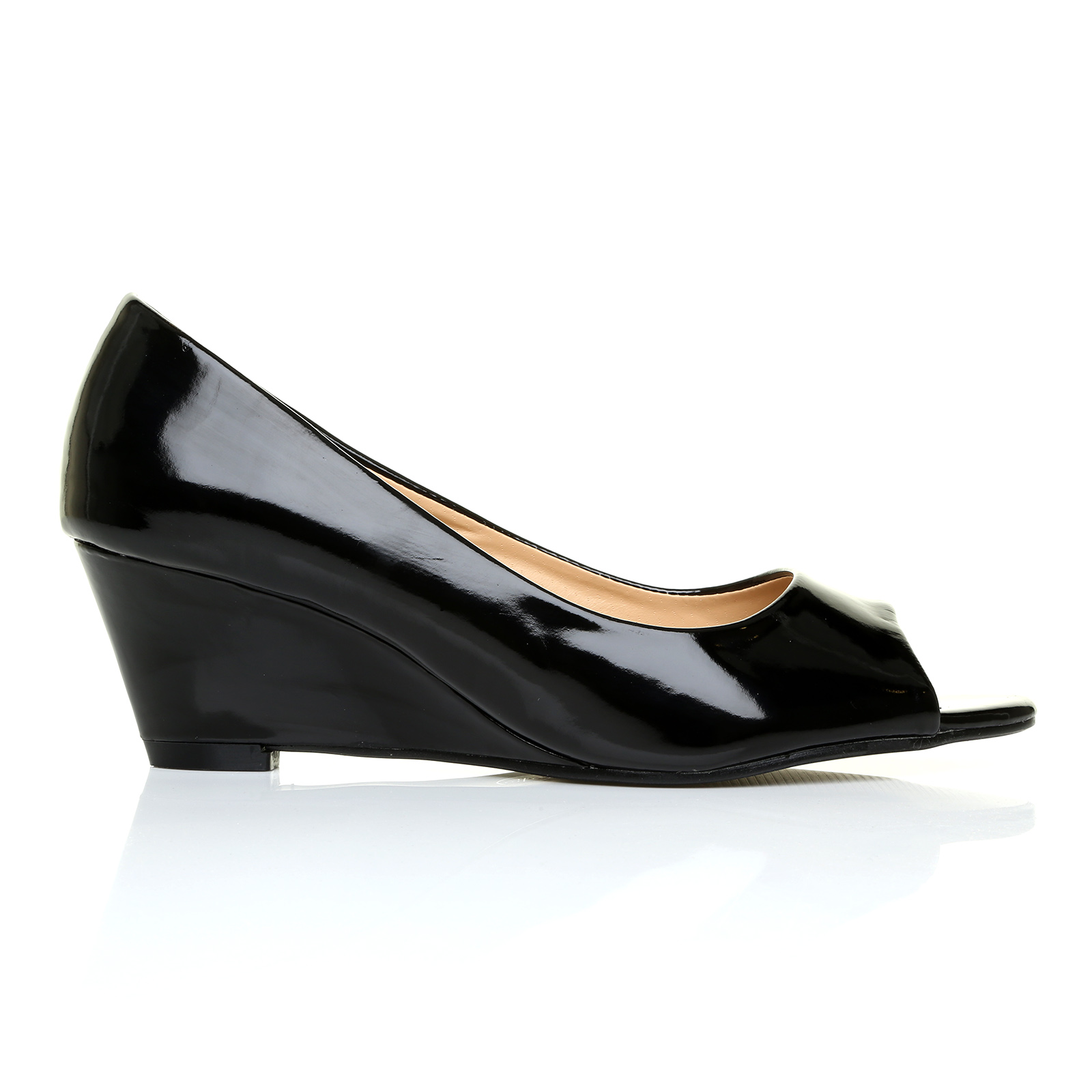 suede patent peep toe low mid heel wedge womens casual