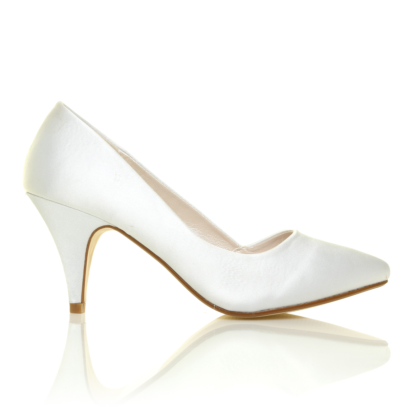 new womens ivory white satin mid heel bridal wedding