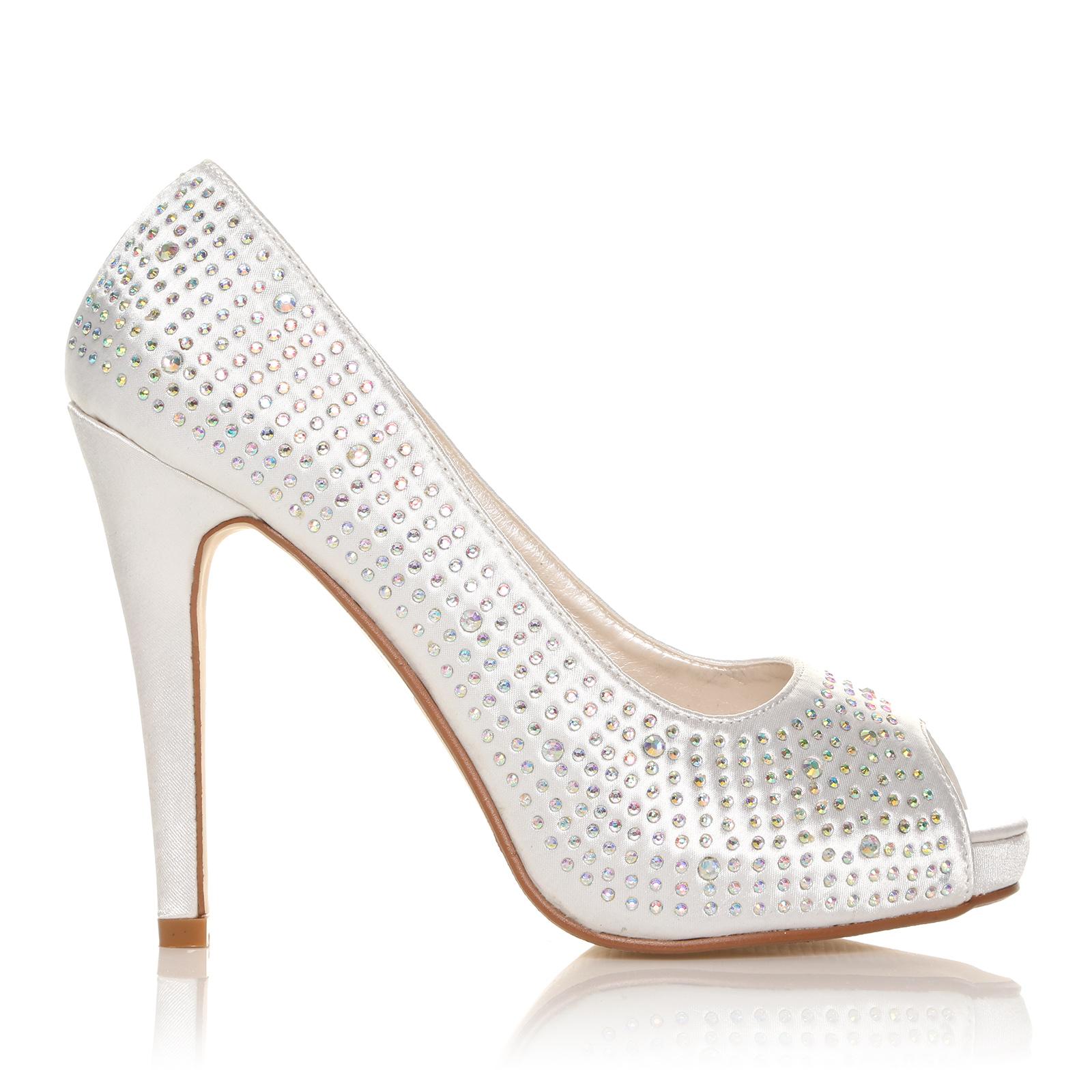 new wedding prom evening peep toe shoes diamante