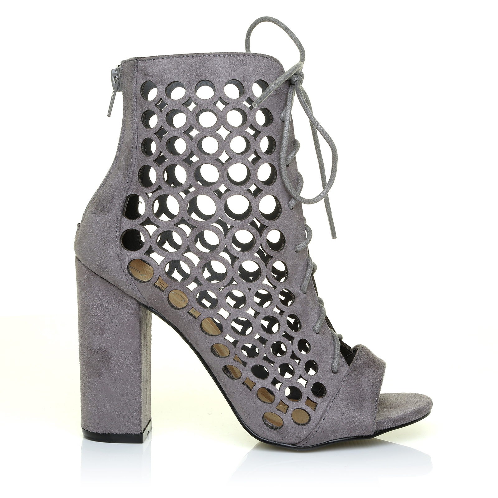 LATEST! Caged Block Heel Peep Toe Lace Up High Heels Ankle Sandals