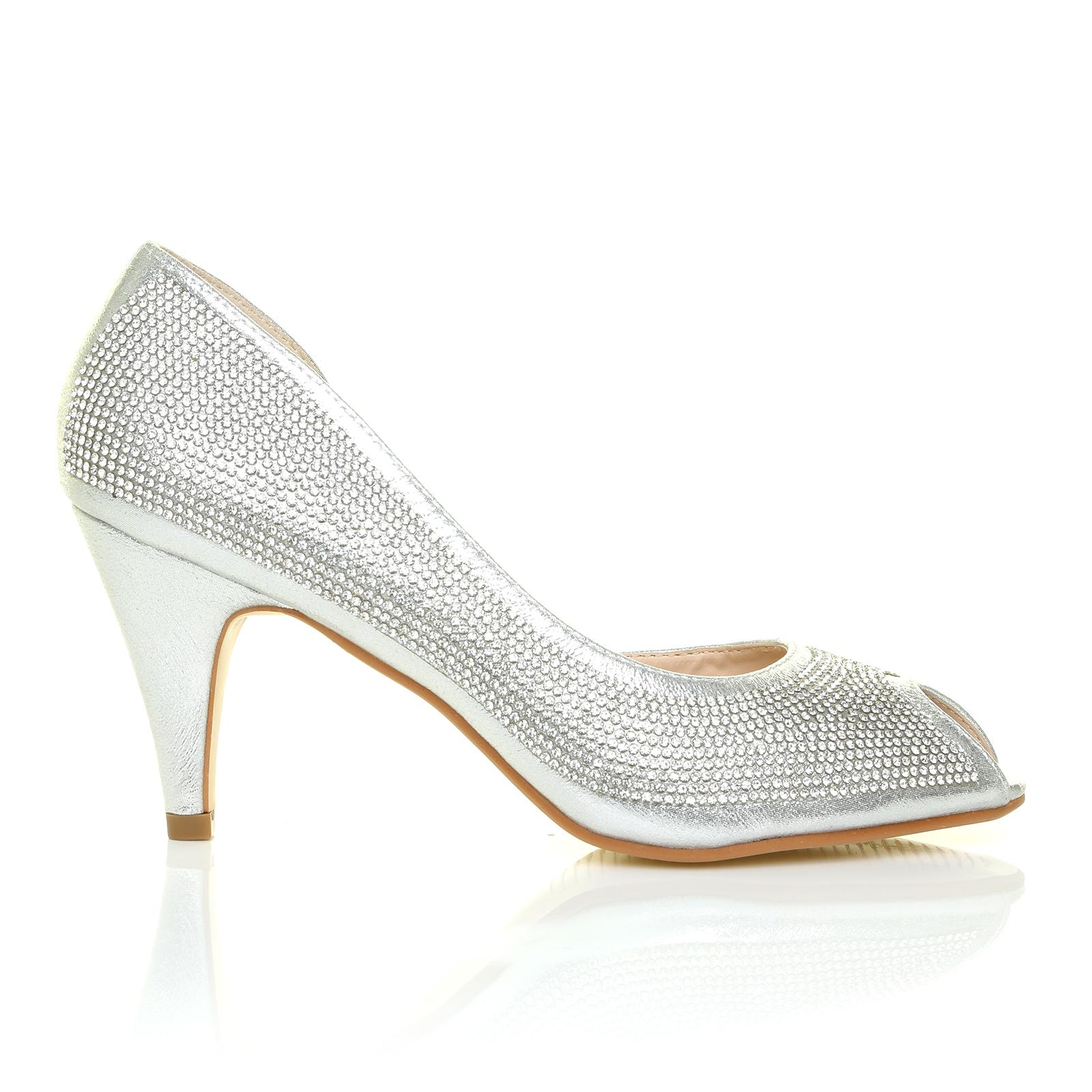 Silver Peep Toe Mid Heels