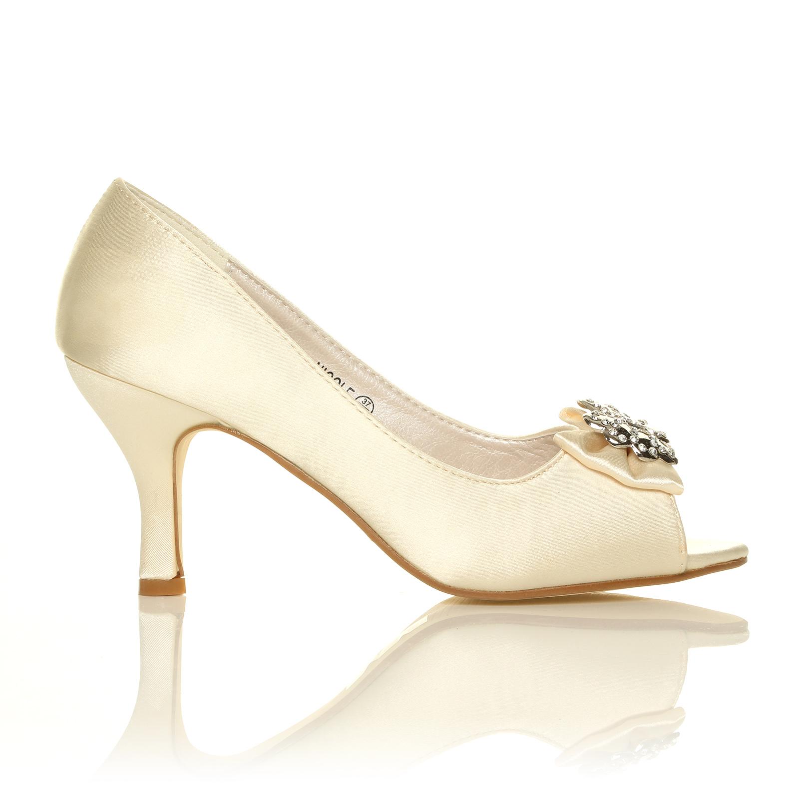 ivory white navy satin low heel bridal prom peep toe