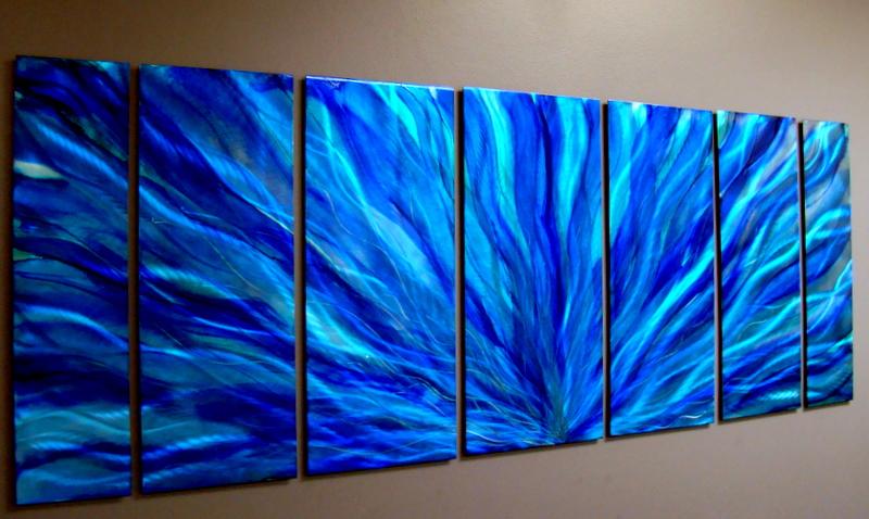 Statements2000 Ocean Blue Plumage - Blue Modern Metal Wall Art Sculpture Decor by Jon Allen