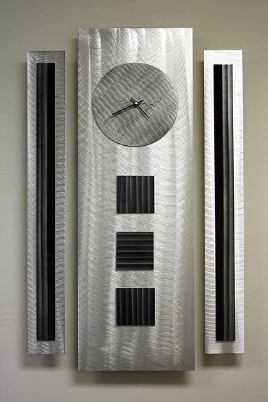 Statements2000 Monument - Modern Abstract Silver/Black Metal Wall Clock Art Decor by Jon Allen