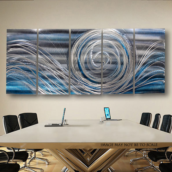 Statements2000 Off Shore Winds XL - Massive Modern Metal Silver Blue Abstract Wall Art Painting Sculpture Decor by Jon Allen