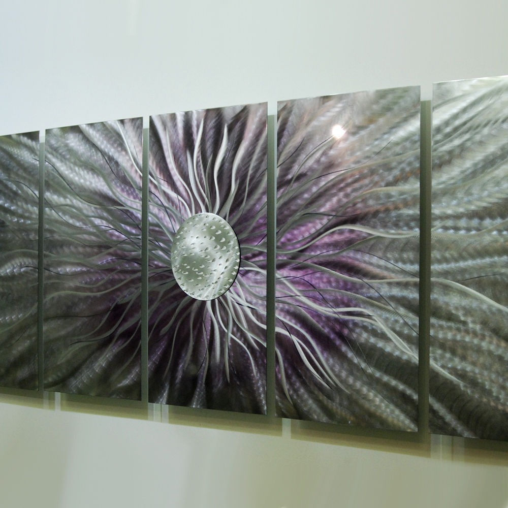 Huge purple modern abstract metal wall art painting for Purple wall art