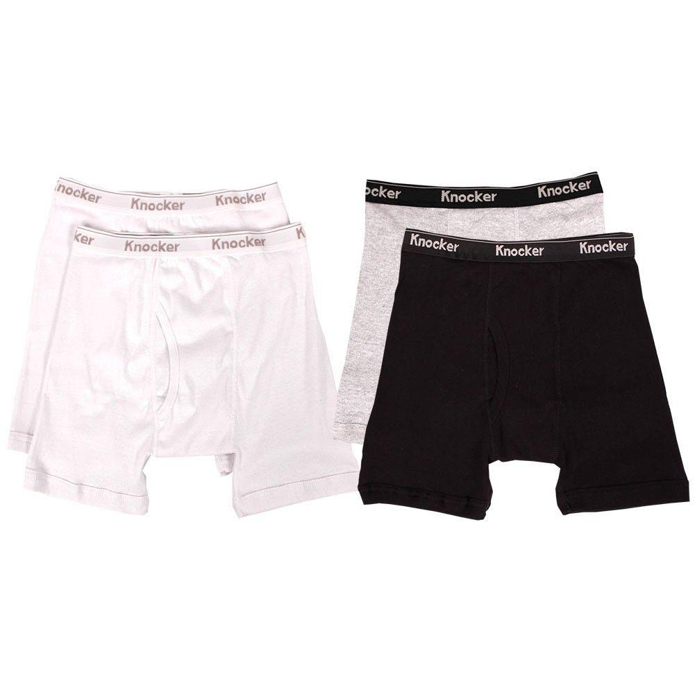 4 mens boxer briefs 100 cotton black gray white lot underwear s m l xl xxl xxxl ebay. Black Bedroom Furniture Sets. Home Design Ideas